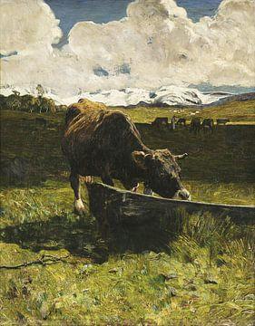 Vache brune à l'abreuvoir, Giovanni Segantini sur