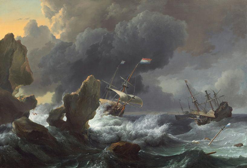 Navires en détresse au large d'une côte rocheuse, Ludolf Bakhuizen sur Meesterlijcke Meesters
