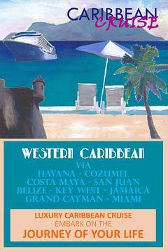 Westliche Karibik-Kreuzfahrt Retro-Reiseposter II von Markus Bleichner