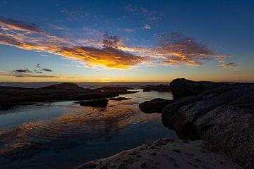 Zonsondergang, Bloubergstrand Beach, Zuid-Afrika van