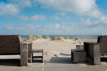 Uitzicht op Vlieland bij Kaap Noord, Texel van Wim van der Geest
