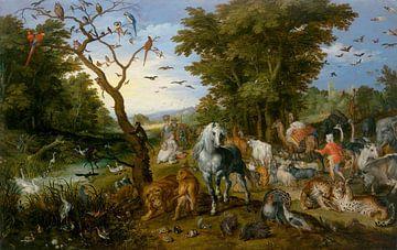 Paradieslandschaft mit den Tieren, die in die Arche Noahs eindringen, Jan Brueghel der Ältere