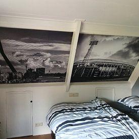 Klantfoto: Erasmusbrug & Noordereiland in Rotterdam | Zwart-Wit van Mark De Rooij, als naadloos behang
