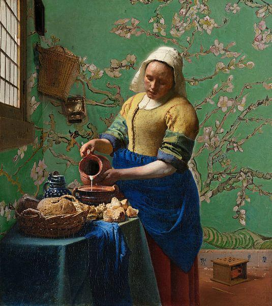 Het melkmeisje met Amandelbloesem behang (Groen) - Vincent van Gogh - Johannes Vermeer van Lia Morcus