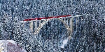 Rhätische Bahn auf dem Langwieser Viadukt in der Schweiz von Werner Dieterich