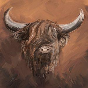 Schotse hooglander met natuurlijke aardse tinten taupe bruin en witte accenten.