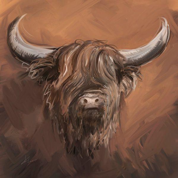 Schotse hooglander met natuurlijke aardse tinten taupe bruin en witte accenten. van Emiel de Lange