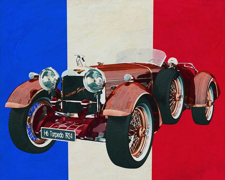 Hispano Suiza H6 Tulpenhout 1924 met Franse vlag van Jan Keteleer