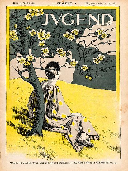 Jugendstil, Vintage tijdschrift cover Jugend 30 April 1898