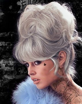 Brigitte Bardot Grau von Rene Ladenius Digital Art