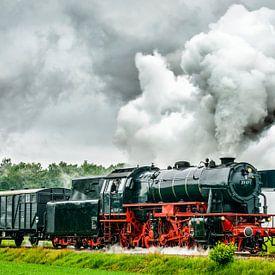 Dampflok fährt auf dem Land von Sjoerd van der Wal Fotografie