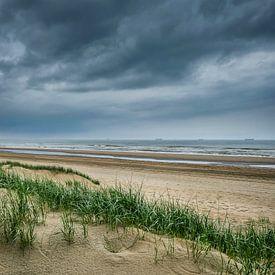 Aan het strand bij Katwijk aan Zee van Peet Romijn