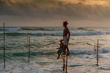 Pole Fischer bei Sonnenuntergang von Richard van der Woude