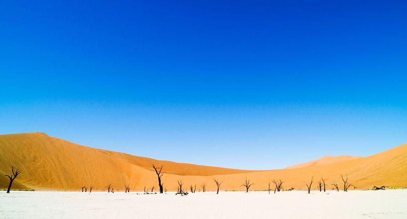 Landschap: blauwe lucht in Dune 45, Sossusvlei, Namibië, Afrika van Jeroen Bos