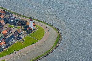 Luchtfoto van het vroegere eiland Urk in Flevoland