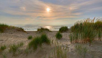 Duin met helmgras bij zonsondergang van Jenco van Zalk