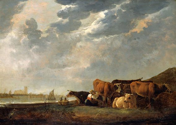 Albert Cuyp. Vee bij de Maas, met Dordrecht in de verte van 1000 Schilderijen
