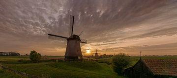 Drie windmolens in de  Beemster polder van