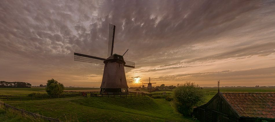 Drie windmolens in de  Beemster polder van Toon van den Einde