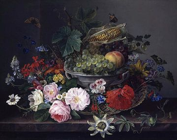 Blumenstillleben mit Obstkorb, Gottfried Wilhelm Voelcker