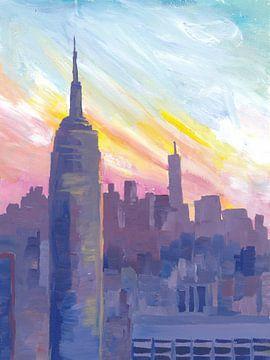 Empire State Building bei Sonnenuntergang mit Blick über Manhattan von Markus Bleichner