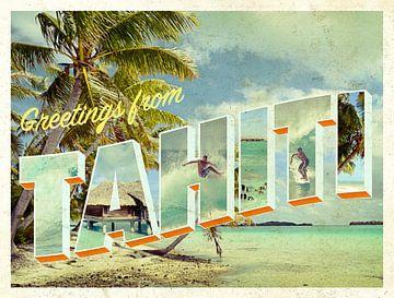 Grüße von Tahiti Vintage Strand Karte