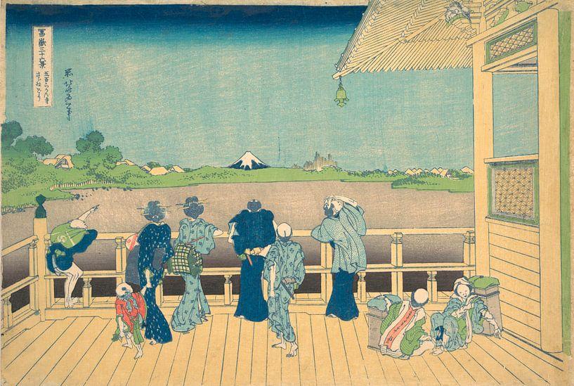 Sazai-Saal im Tempel der fünfhundert Arhats, Katsushika Hokusai von Meesterlijcke Meesters