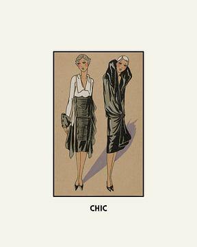 Chic | Zwart en wit, de vriendschap | Historische, retro Art Deco mode prent van NOONY