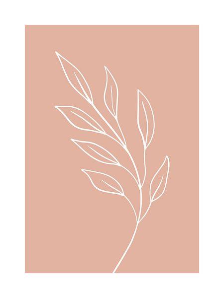 Pink Leaf - Botanische Print van Michelle van Seters