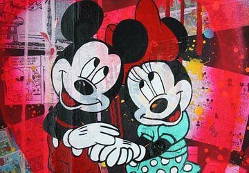 Mickey en Minnie Mouse Roze Hoofden van Kathleen Artist Fine Art