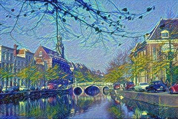 Rapenburg Leiden mit Nonnenbrug und Academiegebouw im Van-Gogh-Stil von Slimme Kunst.nl