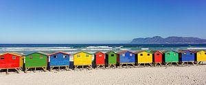 Bunte Strandhäuser Südafrika