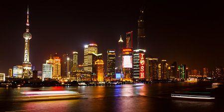 Shanghai Pudong skyline verlicht