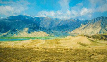 Schilderij van de bergen in Tibet van Rietje Bulthuis