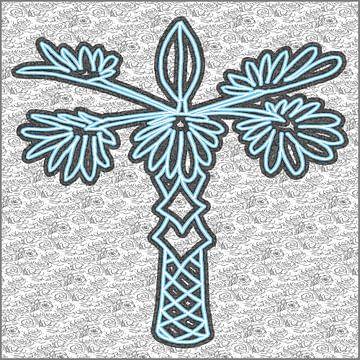 Palmier dessiné en bleu et noir sur