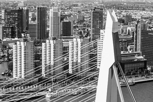 Erasmusbrug met centrum skyline van Dennis Vervoorn