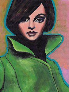 Girl In Green Coat (Close-up) van Lucienne van Leijen