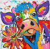 Koe met bloem van Vrolijk Schilderij thumbnail