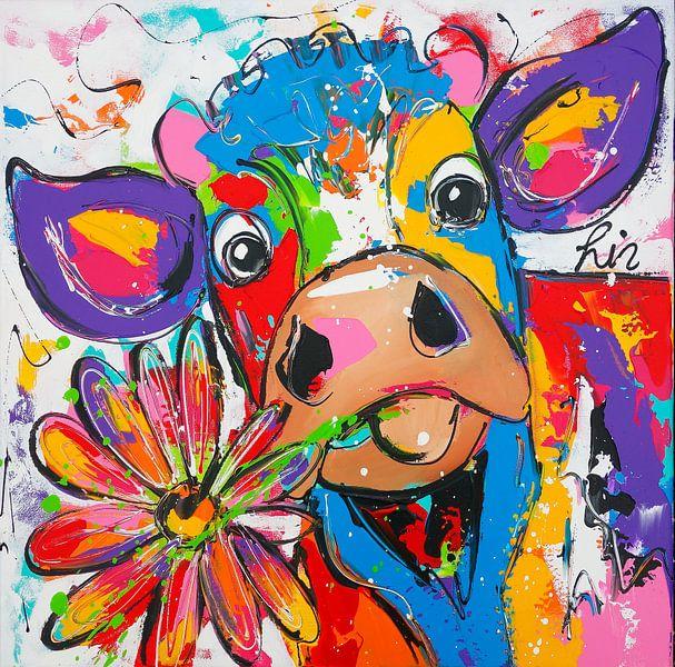 Koe met bloem van Vrolijk Schilderij