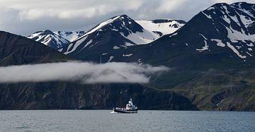 Vissersboot met IJslandse bergen von Willem van den Berge
