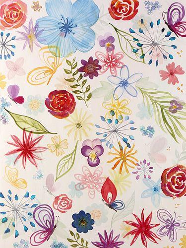 Bonte verzameling bloemen en vlinders