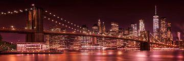 MANHATTAN SKYLINE & BROOKLYN BRIDGE Abendimpressionen | Panorama von Melanie Viola