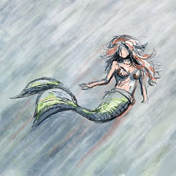 Krijt stijl zeemeermin met ruwe lijnen van Emiel de Lange