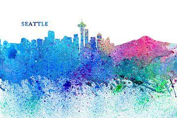 Seattle Washington Skyline Silhouette Impressionistisch van Markus Bleichner