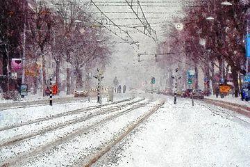Sneeuw op de Coolsingel van Frans Blok