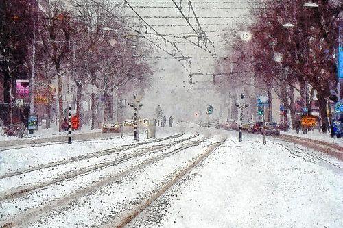 Sneeuw op de Coolsingel