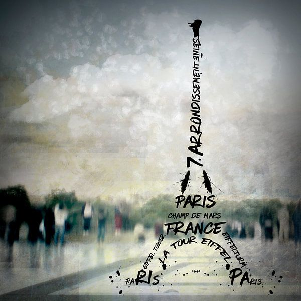 Digital-Art PARIS Eiffel Tower No.2 van Melanie Viola
