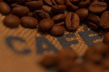 Geröstete Kaffeebohnen auf einem Jutesack von Kim Willems