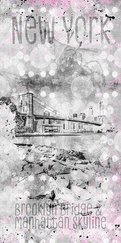 Grafische weergave van de Pebble Beach op het eiland Manhattan van Melanie Viola