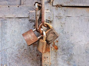 Roestige hangsloten op een oude grijze geschilderde metalen hek van Tony Vingerhoets